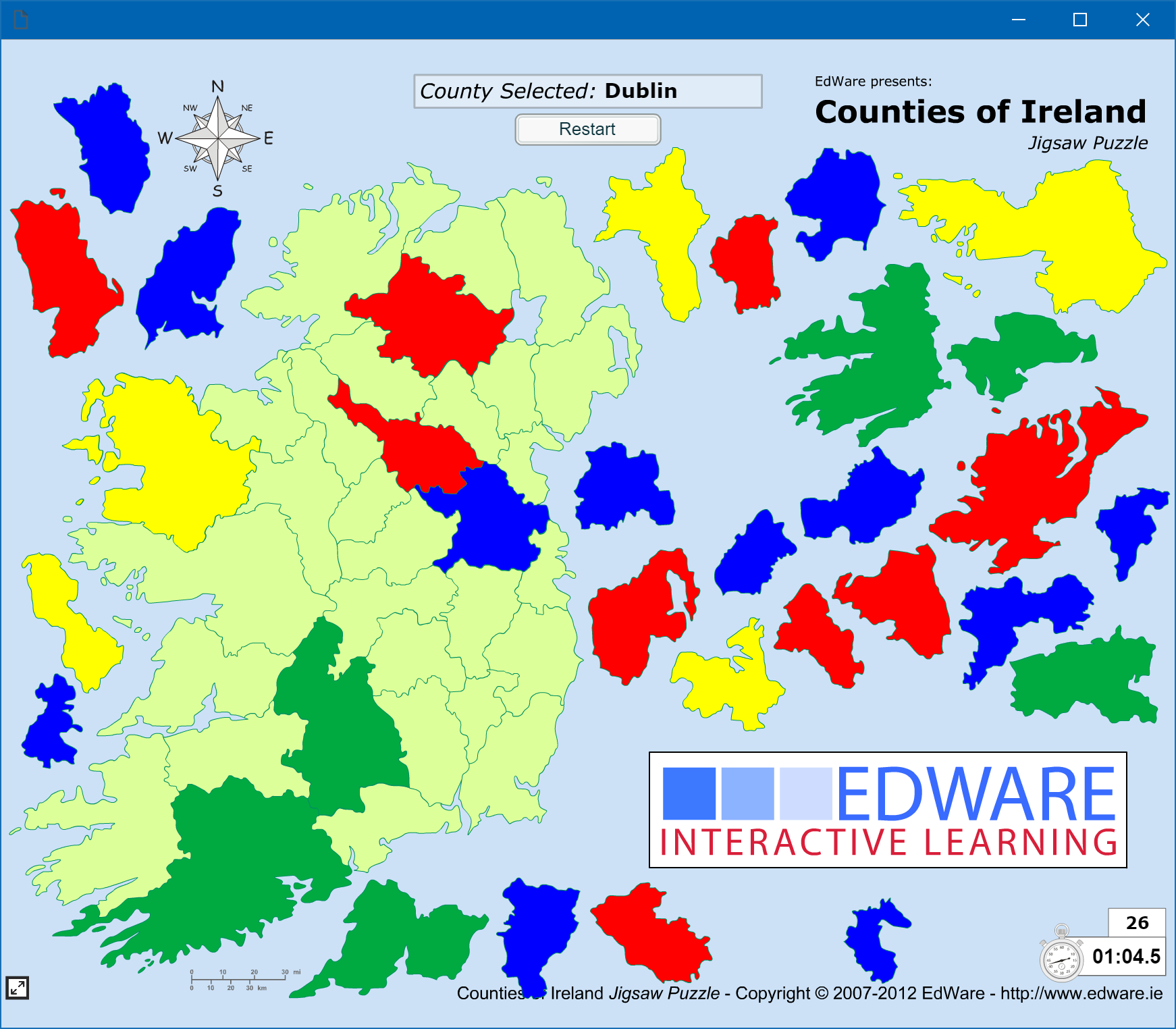 Map Of Ireland By County.Games Edware
