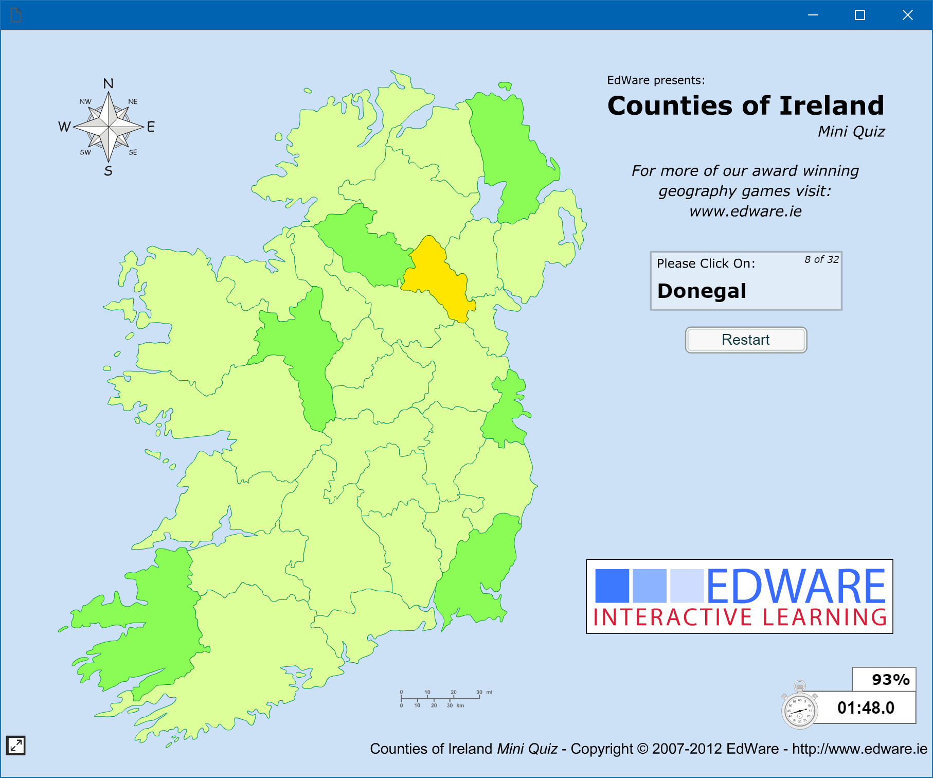 Map With Counties Of Ireland.Games Edware