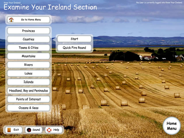 Know Your Ireland - Examine Menu