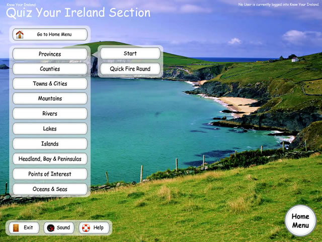 EdWare - Know Your Ireland - Quiz Menu